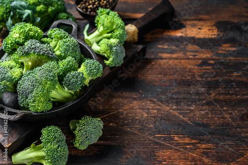 Canvas Raw green broccoli cabbage  in a colander