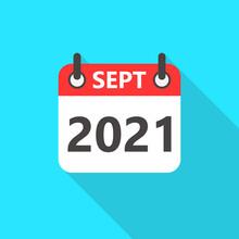 September 2021 Calendar Flat Style Icon Long Shadow. September 2021 Business Calendar Planner Flat Vector Icon. Vector Illustration