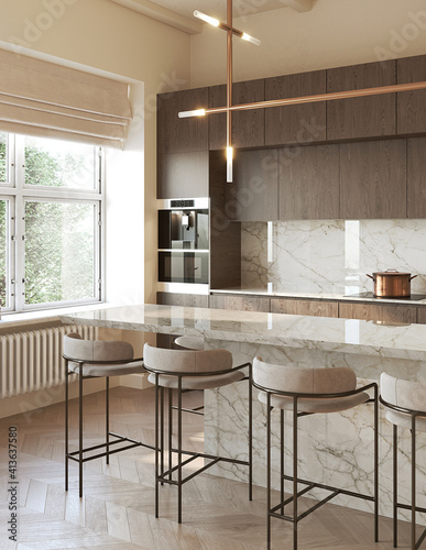Obraz 3d rendering of a modern beige kitchen with beige marble backsplash wooden panels, an island and contemporary stools, vertical closeup - fototapety do salonu