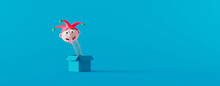 Funny Jack In The Box On The Blue Background. April Fools Day Concept 3d Render 3d Illustration