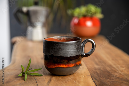 Fotografiet colorful handmade ceramic coffee cup