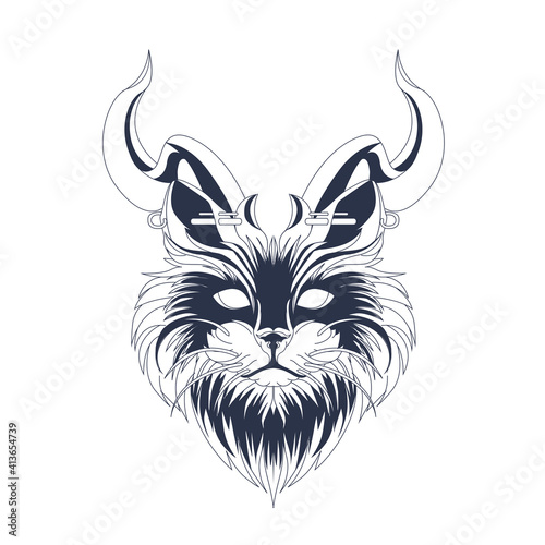 Fotografie, Obraz cat inking illustration artwork