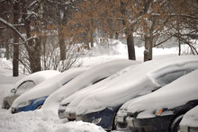 Cars Covered With Deep Snow In Winter, Moscow, Russia