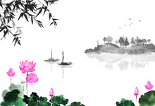 Oriental Landscape With Lotus Flowers, Fishing Boat, Bamboo And Island With Trees. Traditional Oriental Ink Painting Sumi-e, U-sin, Go-hua.