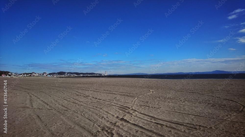 Fototapeta Scenic View Of Desert Against Blue Sky