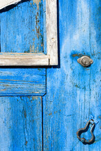 Old Wooden Door Covered With Old Cracked Blue Color Paint