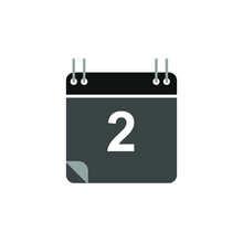 Calendar Icon Vector, Flat Design Best Vector Icon. Date 2. Can Be Edited And Changed Colors.