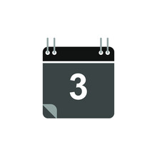Calendar Icon Vector, Flat Design Best Vector Icon. Date 3. Can Be Edited And Changed Colors.