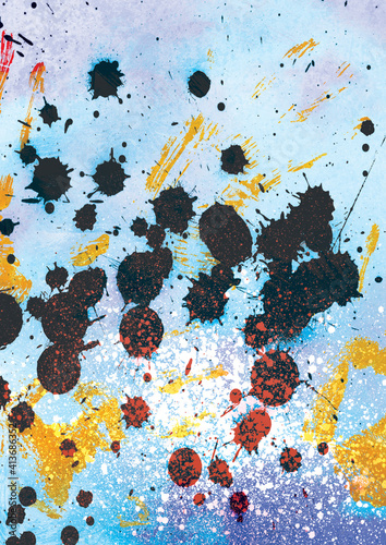 Abstract illustration of black and yellow paint splatters against blue background