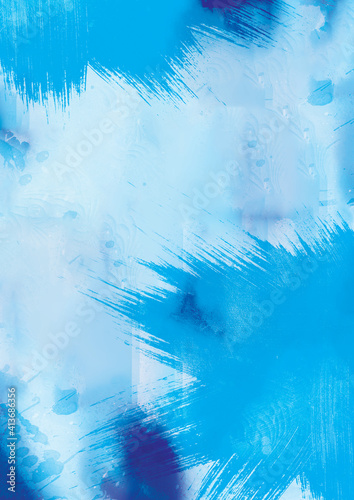 Abstract illustration of blue paint splatters against white background