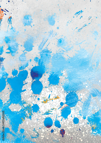Abstract illustration of blue paint brush strokes against grey background