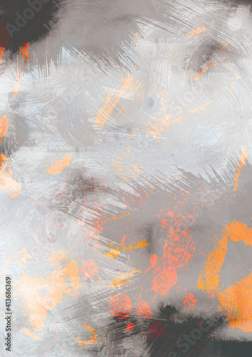 Abstract illustration of grey and orange paint brush strokes against white background