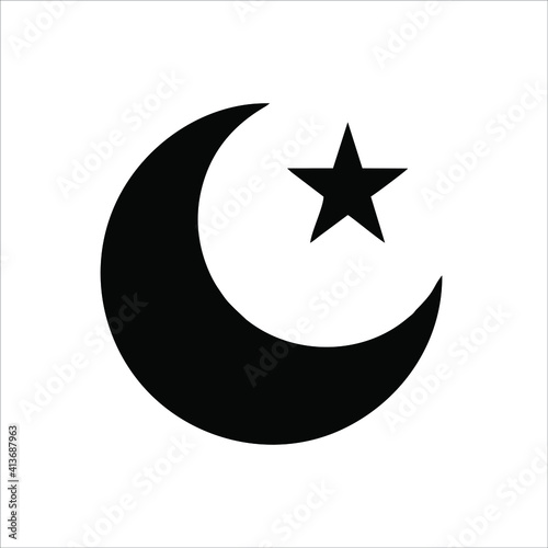 Star and crescent moon icon isolated on white background from religion collection Fotobehang