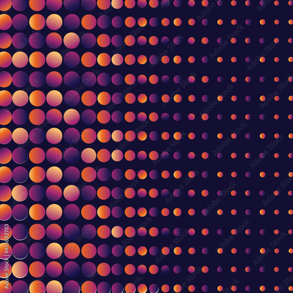 Fototapeta Digitally generated seamless pattern with multicolored neon dots against black background