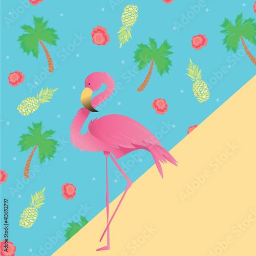 Fototapeta premium Digitally generated illustration of tropical flamingo bird and fruits icons against blue background