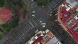 AERIAL: Overhead view of an intersection in Barcelona