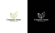 Vector Abstract Organic, Eco, Natural Care Line Logo. Woman Face With Leaves, Feminine, Spa Care, Cosmetics