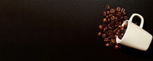 Banner With Raw Coffee Beans And Espresso Cup On The Table. Hot Drinks Backgrounds