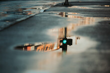 Selective Focus Shot Of A Traffic Light Reflected On A Puddle
