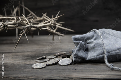 Fototapeta sack with the thirty silver coins biblical symbol of the betrayal of judas