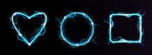 Vector Realistic Blue Electric Lightning Frames