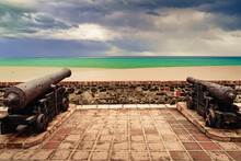 Old Cannon At Sohail Castle In Fuengirola, Spain