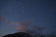 四国徳島県にある兄弟山「剣山」と「次郎笈」の冬の夕焼け