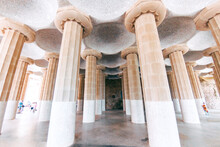 View Of Architectural Columns In Park Guell