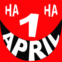 1 April Fool's Day Vector Icon . Ha Ha Speech Bubble .