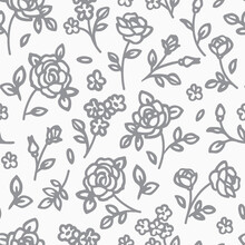 Seamless Pattern With Abstract Garden Roses, With Stems, Buds And Leaves Silhouette. Background With Blossoming Gray Outline Flowers. Vintage Floral Hand Drawn Wallpaper. Vector  Illustration.