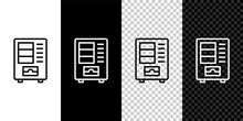 Set Line Vending Machine Of Food And Beverage Automatic Selling Icon Isolated On Black And White,transparent Background. Vector.