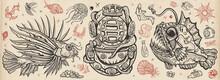 Underwater World. Scuba Diver Helmet, Octopus Kraken Tentacles. Sea Monsters. Angler Fish, Lionfish, Jellyfish. Deep Water Diving Art. Treasures And Life Of Ocean. Old School Tattoo Vector Collection