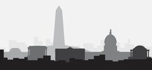 Washington DC Skyline, District Of Columbia, USA. Flat Design Vector Illustration.