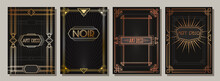 Art Deco Style Frame Set, Poster, Cover Templates, Golden, Bronze And Copper Gradients