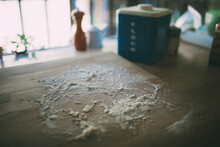 High Angle View Of Flour Spilled On Table
