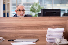 Old Male Employee Sitting In The Office
