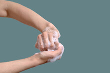 Hygiene Concept. Woman Washing Hands With Soap