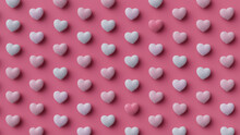 Multicolored Heart Background. Valentine Wallpaper With Pink And Light Pink Love Hearts. 3D Render