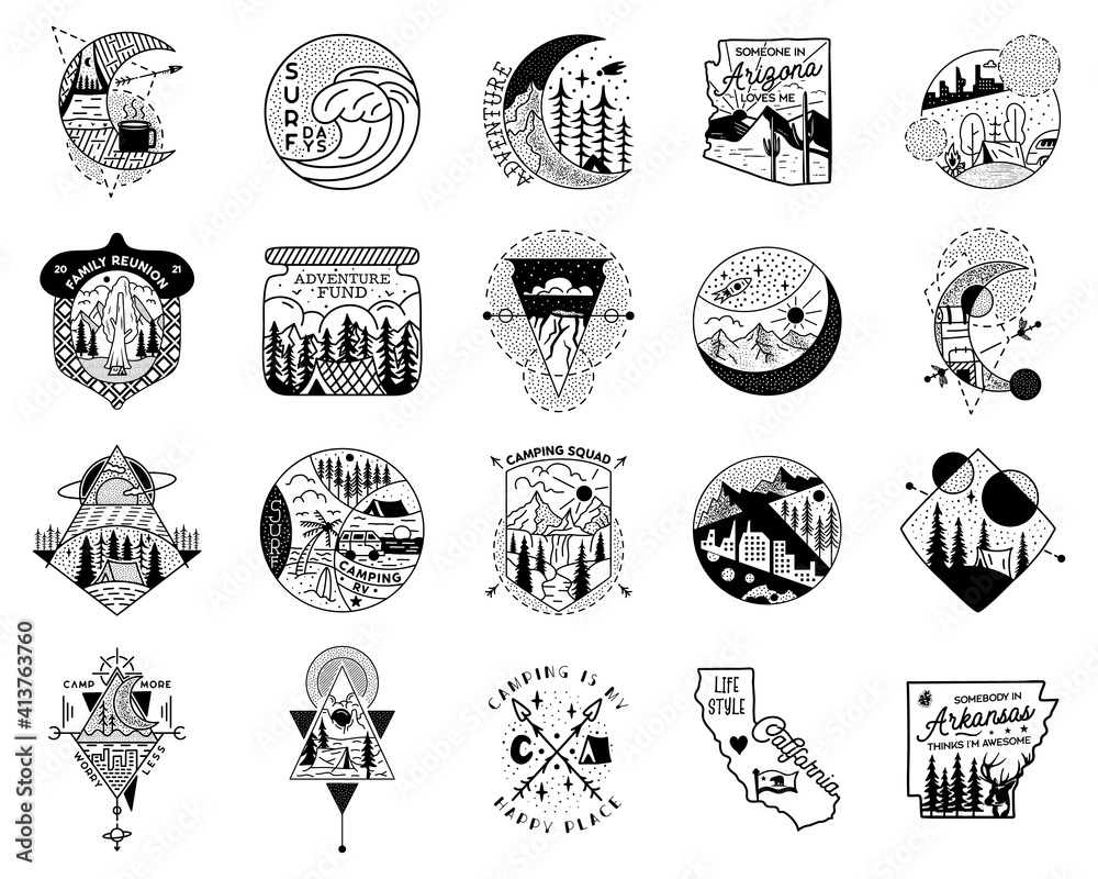Fototapeta Camping adventure badge designs big bundle. Outdoor crest logos with tents and trees. Travel silhouette labels isolated. Sacred geometry. Stock vector tattoo graphics emblems