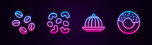 Set Line Coffee Beans, Jelly Candy, Pudding Custard And Donut. Glowing Neon Icon. Vector.