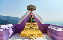 Emerald Buddha Statue On A Terrace At Wat Tha Ton (Phra Aram Luang) - A Famous Buddhist Complex In Northern Thailand. Mae Ai District, Chiang Mai Province