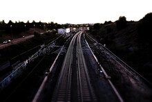 Tilt-shift Image Of Railroad Tracks