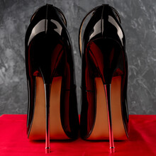 Black Fetish Shiny Patent Leather Stiletto High Heels With Ankle Strap