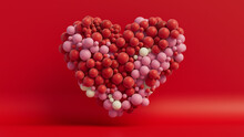 Multicolored Balloon Love Heart. Red, Pink And White Balloons Arranged In A Heart Shape. 3D Render