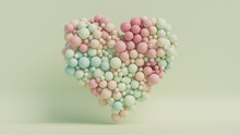 Pastel Coloured Balloon Love Heart. Pink, Green And Aqua Balloons Arranged In A Heart Shape. 3D Render