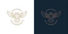 Flying Owl With Diamond Logo Template Linear Vector Illustration