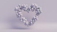 Balloon Love Heart. Pale Violet Balloons Arranged In A Heart Shape. 3D Render