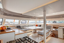 Galley & Main Saloon Inside A Catamaran Cruising On The Garonne River