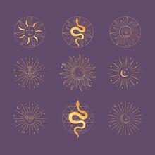 Golden Sacred Sun And Moon Logo Design Elements