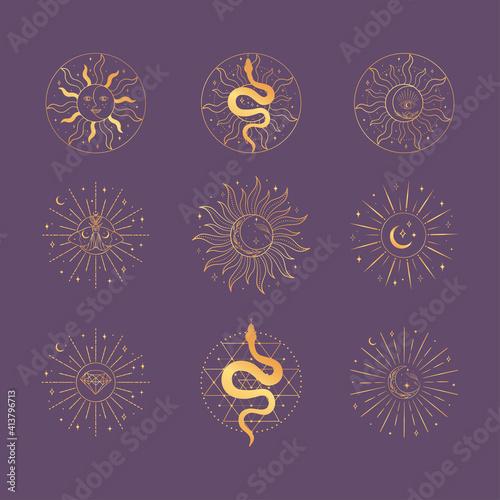Fotografía Golden Sacred Sun and Moon logo design elements